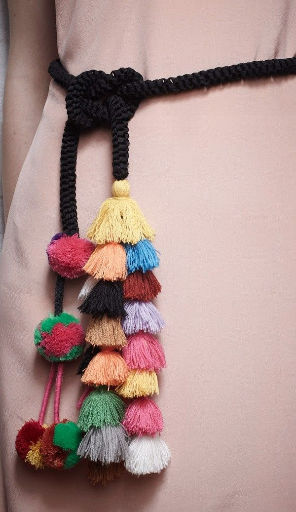 rope cord belt with multi-colored tassels and pompoms by Khoon Hooi - Malaysia