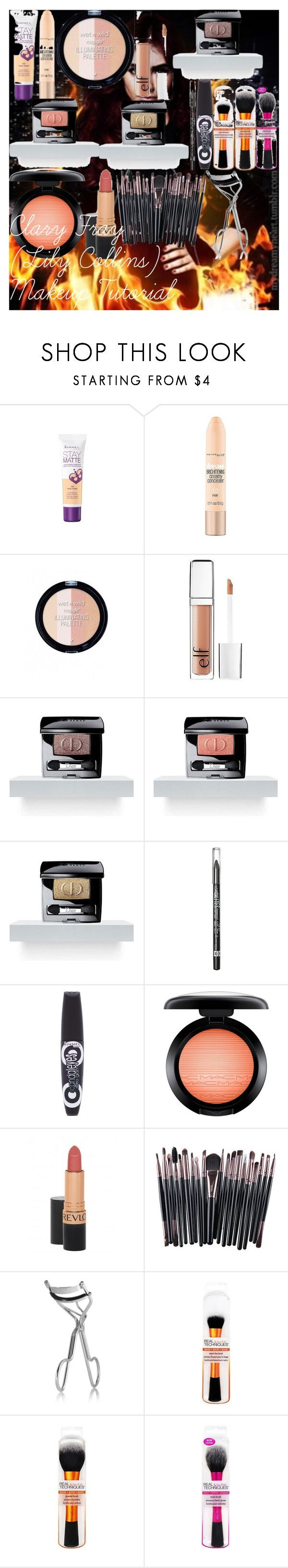 """""""Clary Fray (Lily Collins) Makeup Tutorial"""" by oroartye-1 on Polyvore featuring beauty, Rimmel, Maybelline, e.l.f., Christian Dior, MAC Cosmetics, Revlon and BBrowBar"""