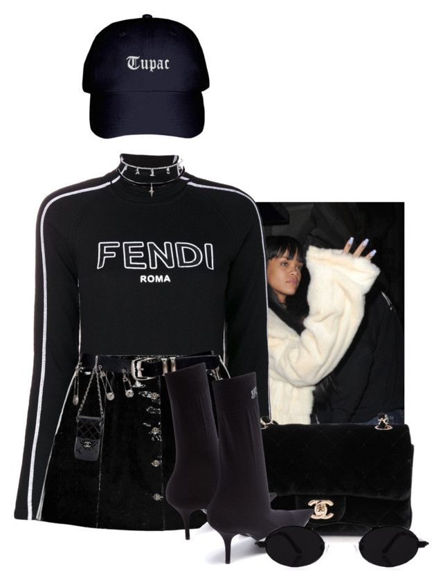 """She's doing fine on her own."" by thaijohnson ❤ liked on Polyvore featuring Fendi, Veil London, Versace, Chanel, Balenciaga and Yves Saint Laurent"