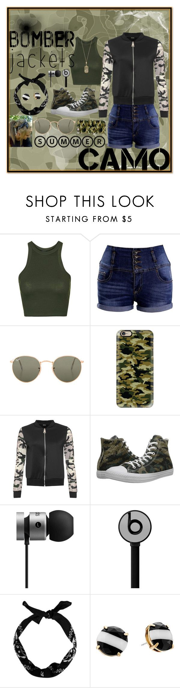 """Bomber Jacket (Camo)"" by ashieluvsyou ❤ liked on Polyvore featuring Topshop, Ray-Ban, Casetify, WearAll, Converse, Beats by Dr. Dre, New Look, Kate Spade, Michael Kors and bomberjackets"