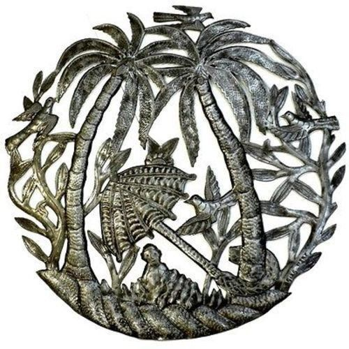 Palm Trees and Umbrella - Haitian Steel Drum Metal Art