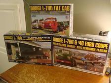 Dodge L-700 Tilt Cab, '40 Ford Coupe, With Box Trailer ALL 3 MODELS NEW Lindberg
