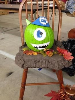 Monsters Inc inspired pumpkin #TYP entry in #plaidcrafts 4th Annual Trick Your Pumpkin Halloween craft contest! www.TrickYourPumpkin.com