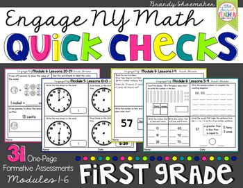 Engage NY First Grade Math Quick Checks formative assessment packet! This packet includes 31 pages of first grade math standards review aligned to the Modules and lessons in the Engage NY Math program.  Each page features problems similar those on the Engage NY exit tickets and will allow you to see if students have mastered the skills/strategies you've taught or if additional instruction and practice is needed.