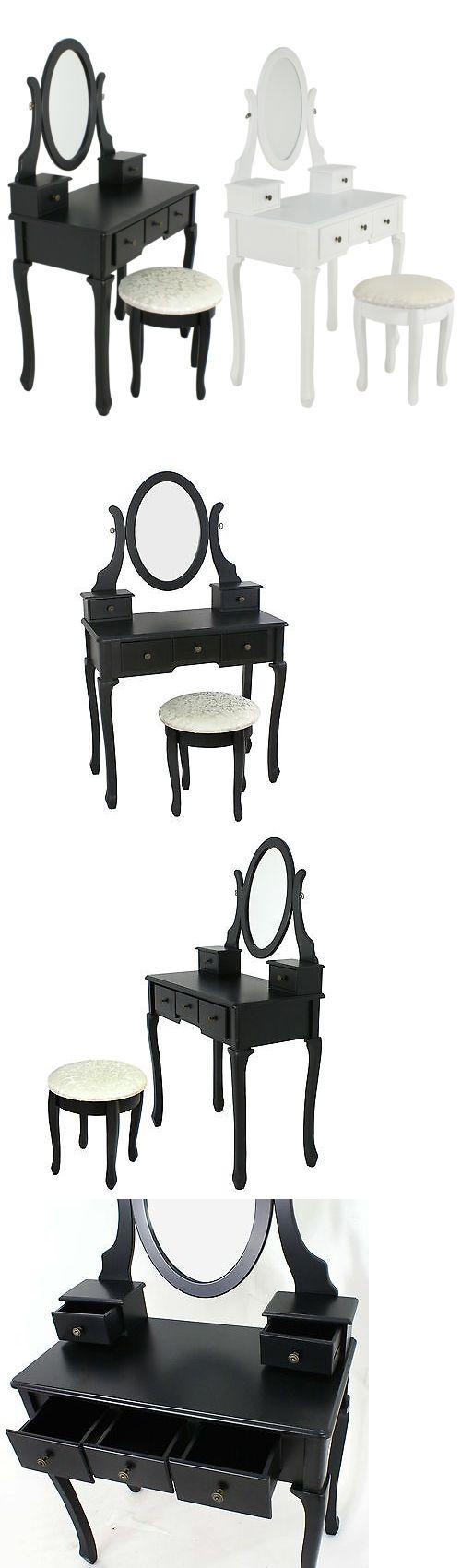 Black vanity salons vanities habitats the mirror outlets mirror - Vanities And Makeup Tables 32878 White Black Vanity Makeup Dressing Table Set Wood Desk W