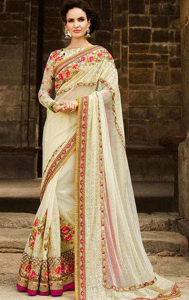 Picture of Impressive Butter Cream Designer Saree @http://www.maalpani.com/latest-arrivals.html