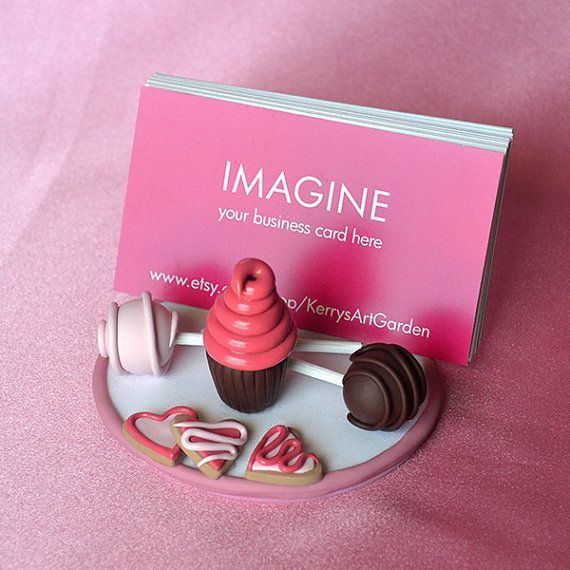 Sweet Treats (Pink) Polymer Clay Business Card Holder