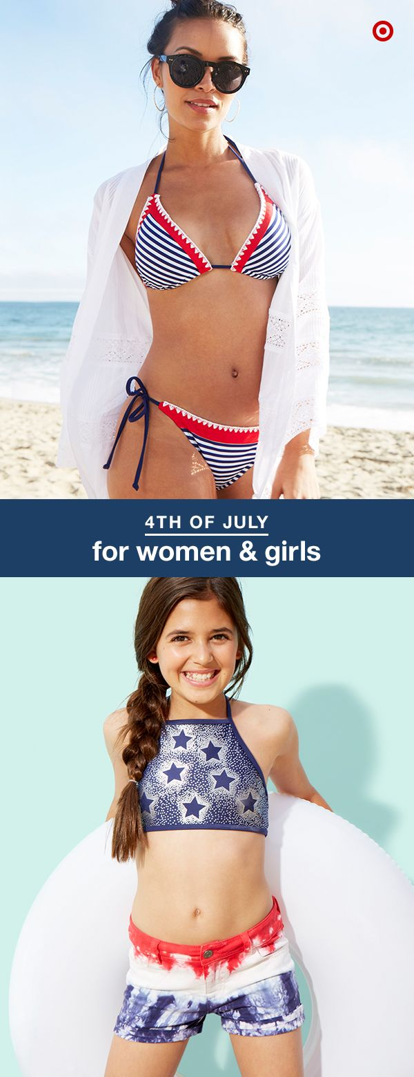 Have your holiday swim-style planned before you head to the beach or pool. From crochet bikinis for moms to cute tie-dye shorts for girls, we've got you covered (in red, white and blue).