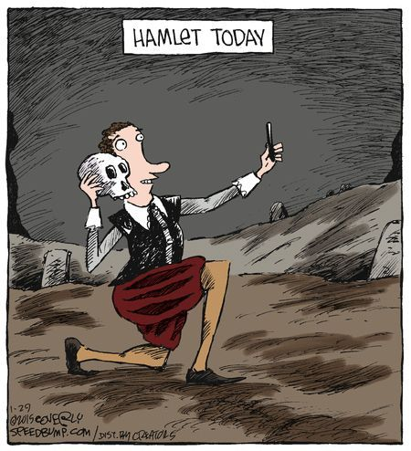 I think this is a great representation of Hamlet. Doing a 'selfie' fits his nature because he has a self-centered personality, mostly only thinking of what he wants when it comes to his revenge