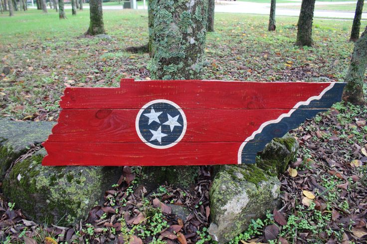 Tennessee Shaped State Flag Hand Painted On Reclaimed