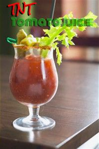 TNT Tomato Juice recipe (non-alcoholic bloody mary) from healthyvoyager.com