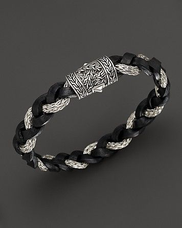 John Hardy Men's Classic Chain Braided Leather Cord Bracelet | Jewelry for Men