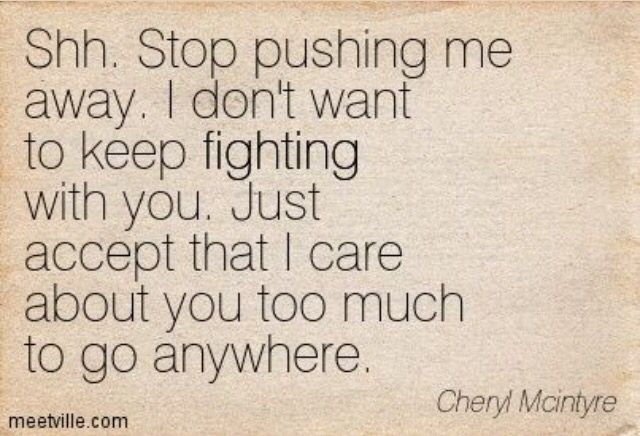 Stop pushing away