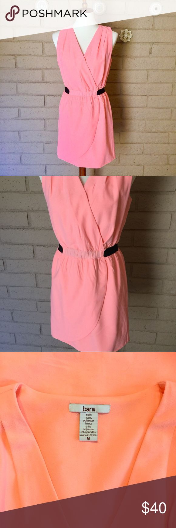Bar III Neon Mini Dress Bar III Tank dress in neon peach color - much brighter in person! Black waist band, illusion wrap draping Size M Pre-loved with minimal signs of wear. No stains, rips or other flaws! Bar III Dresses