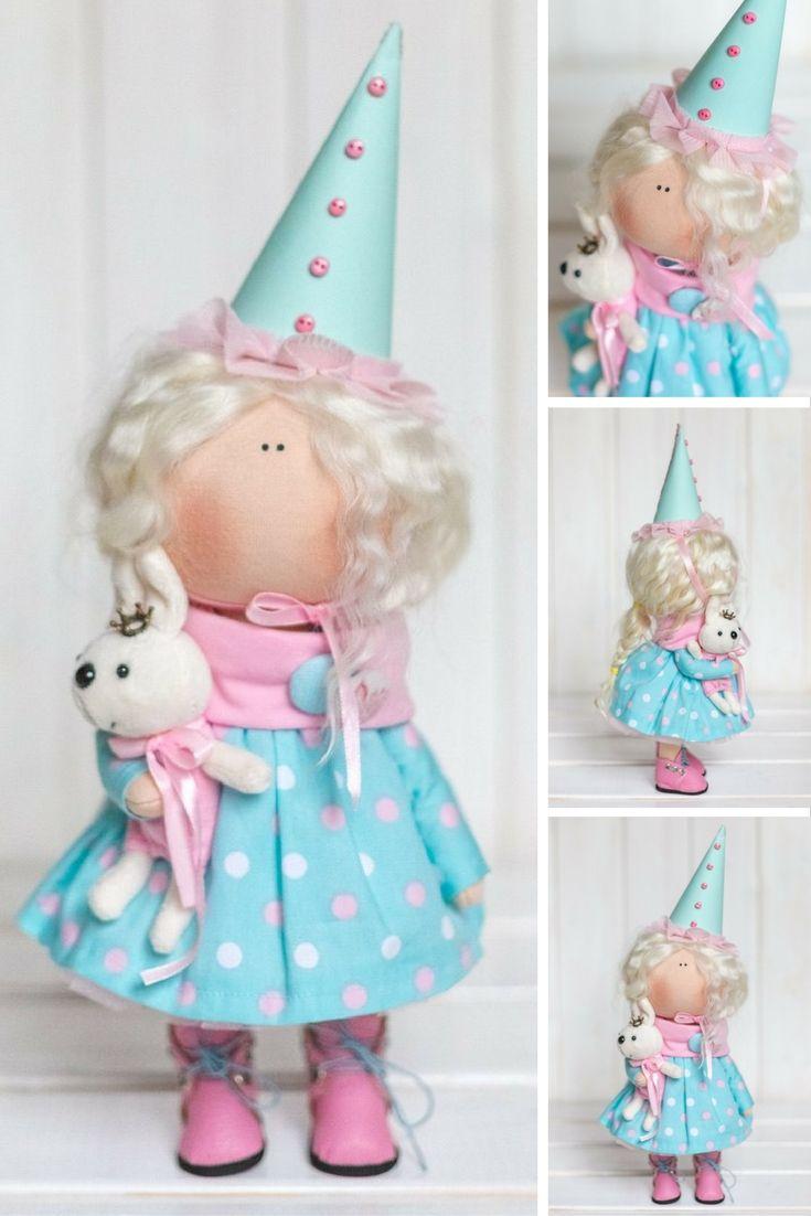 Baby doll doll Fabric doll Interior doll Handmade doll Textile doll Tilda doll Blue doll Cloth doll Baby doll Art doll