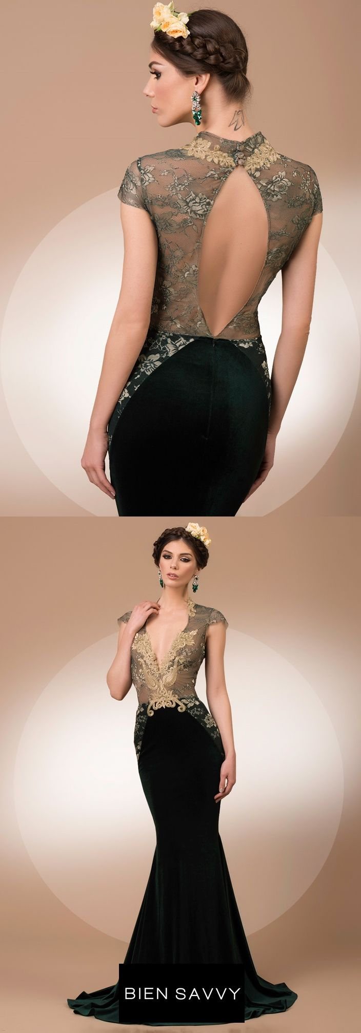 My Secret Forest, a stunning luxury evening gown with a deep V cleavage, crafted in fine lace and velvet, My Secret collection by BIEN SAVVY