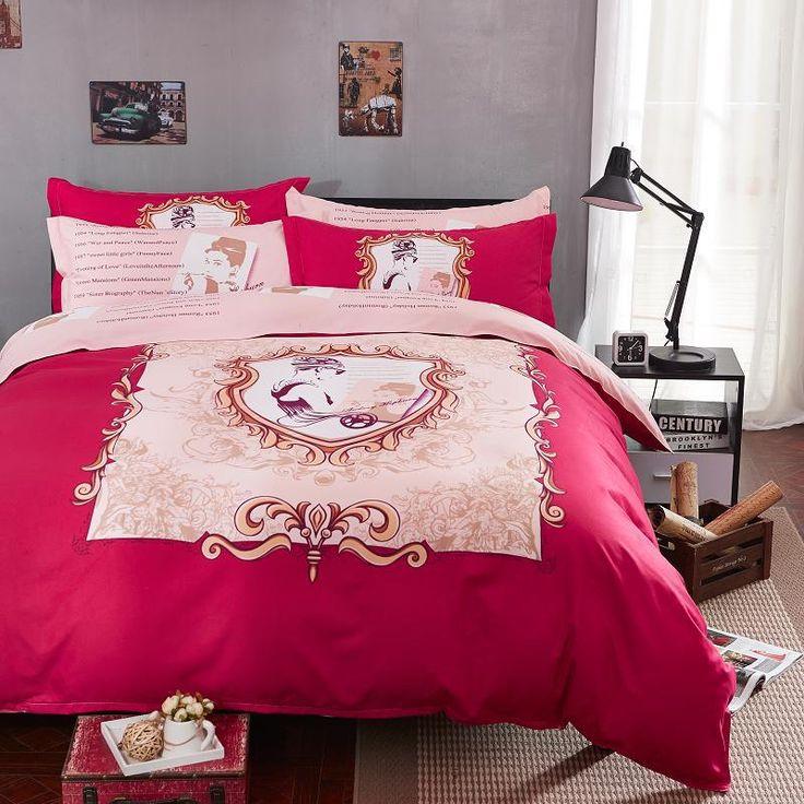 Barato New Audrey Hepburn conjunto de cama 100% algodão folha de cama conjuntos capa de edredão fronhas roupa de cama sarja lixar rosa, Compro Qualidade Roupas de cama diretamente de fornecedores da China:           Tamanho: rei                 Medidas:  Capa de edredão 200 cm * 230 cm * 1, lençol 230 cm * 250 cm * 1,