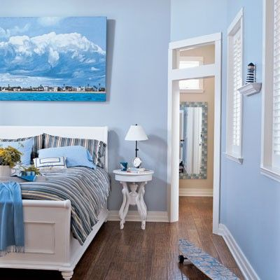 Cool blue bedroom from Linda Hold Interiors.