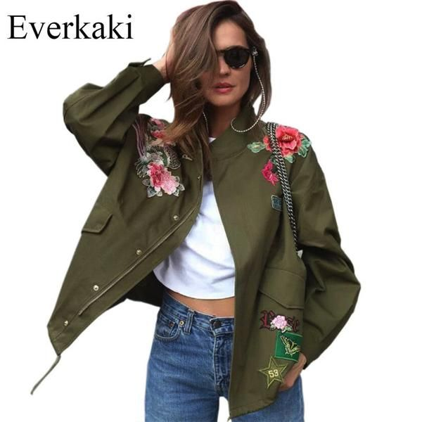 Everkaki 2017 Women Basic Coats Peony floral Army Green Summer Embroidery Jacket Streetwear patches Rivet Zipper Retro Parkas-Enso Store-JL-L-Enso Store