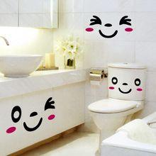 FacSmile sonrisa Cara Pegatinas Aseo Lindo Baño de Dibujos Animados Decoraciones Extraíble Pegatinas de Pared Impermeable Papel Carteles Hogar Deoc(China (Mainland))