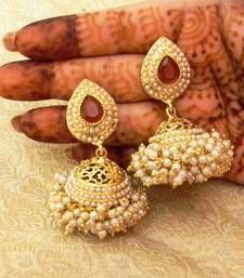 Buy Marvelous Maroon Gold Plated Bandani Jhumka Earrings jhumka online