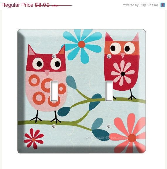 ON SALE NOW Cute little owls  double light switch by DecorLounge, $8.54