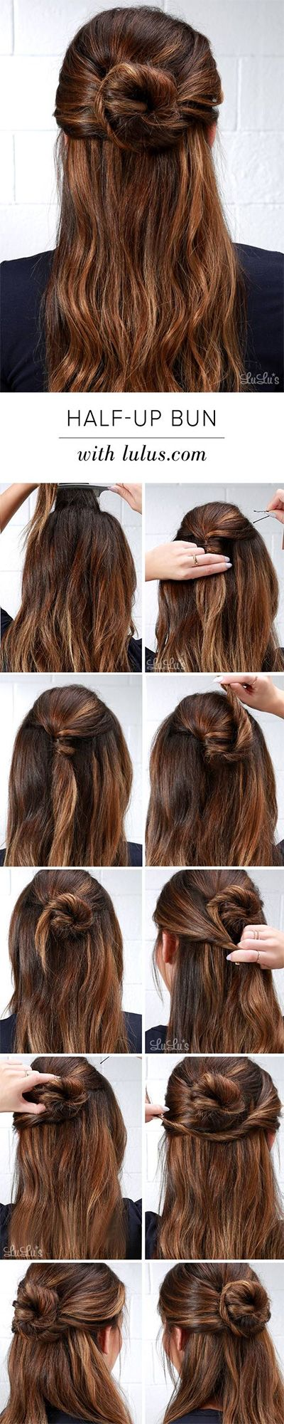 hun, half-bun top knot tutorials
