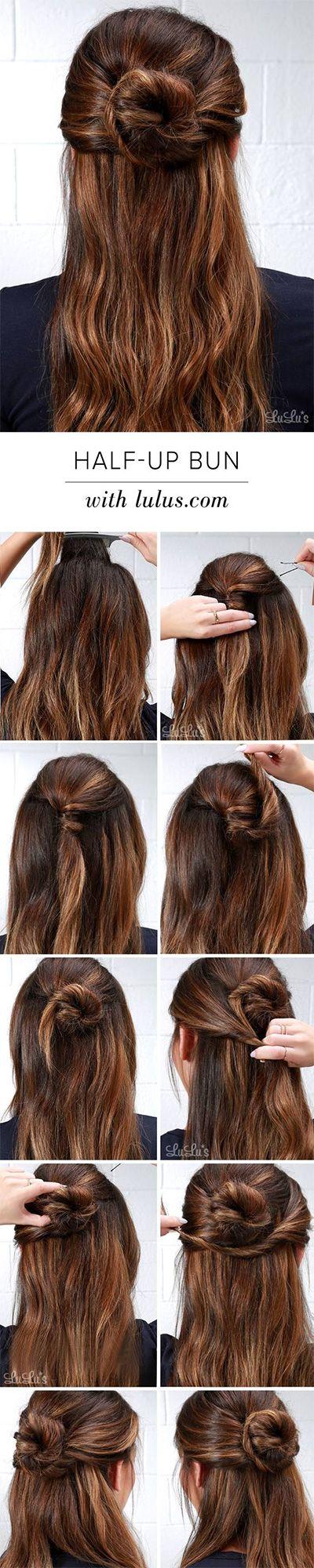 how to properly create the half-up-half-down bun (the hun)