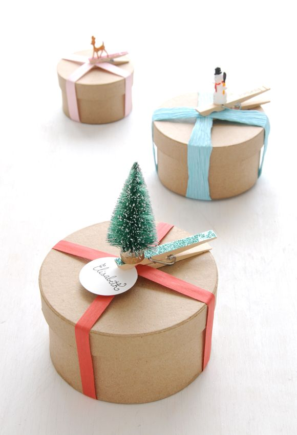 DIY Adorned Glittered Clothespin Gift Toppers - kind of love this!