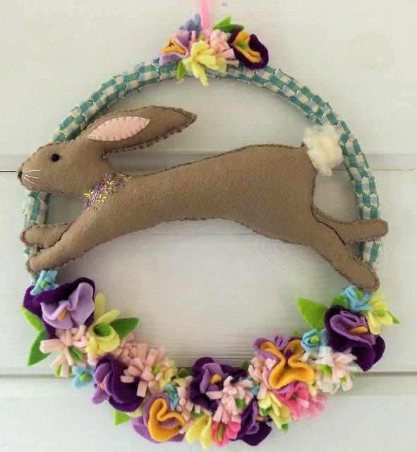 Spring Bunny Wreath by Bustle & Sew, via Flickr