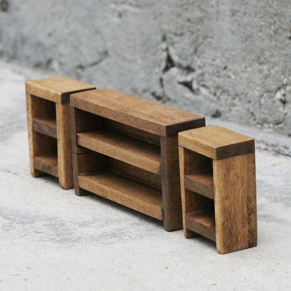 Wooden Dollhouse Furniture Book Shelf Set