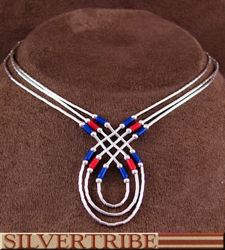 SilverTribe: Hand Strung Liquid Silver Basket Weave Lapis And Coral Necklace Jew… – Collar bisuteria