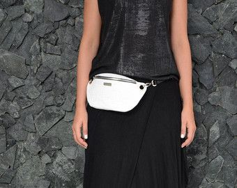 Leather waist bag, hip bag, black and white leather fanny pack, leather bum bag - MONAObags