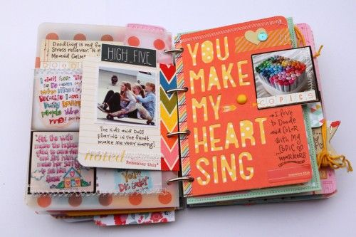 "I love the idea here of using a photo as a ""tab"" in a mini book."