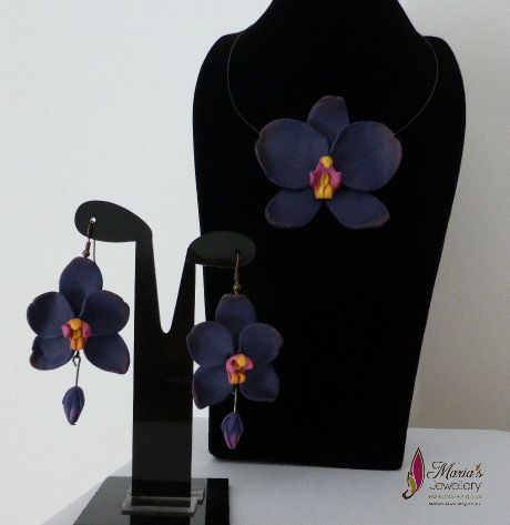 Orchid set with Polymer clay