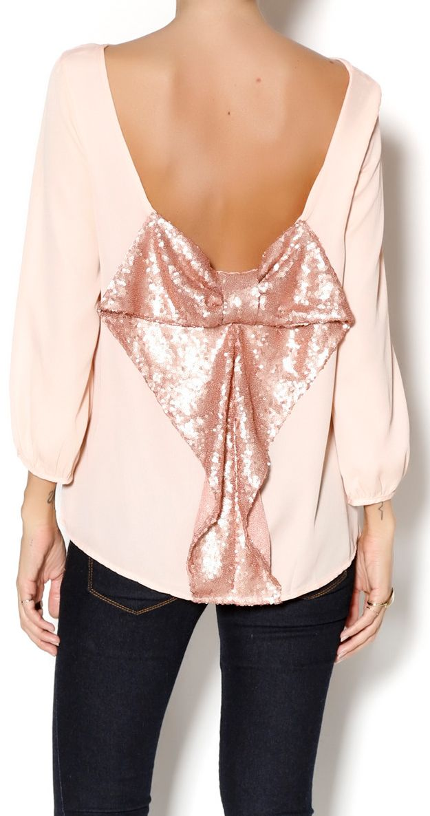 Rose Gold Sequin Bow Back Blouse