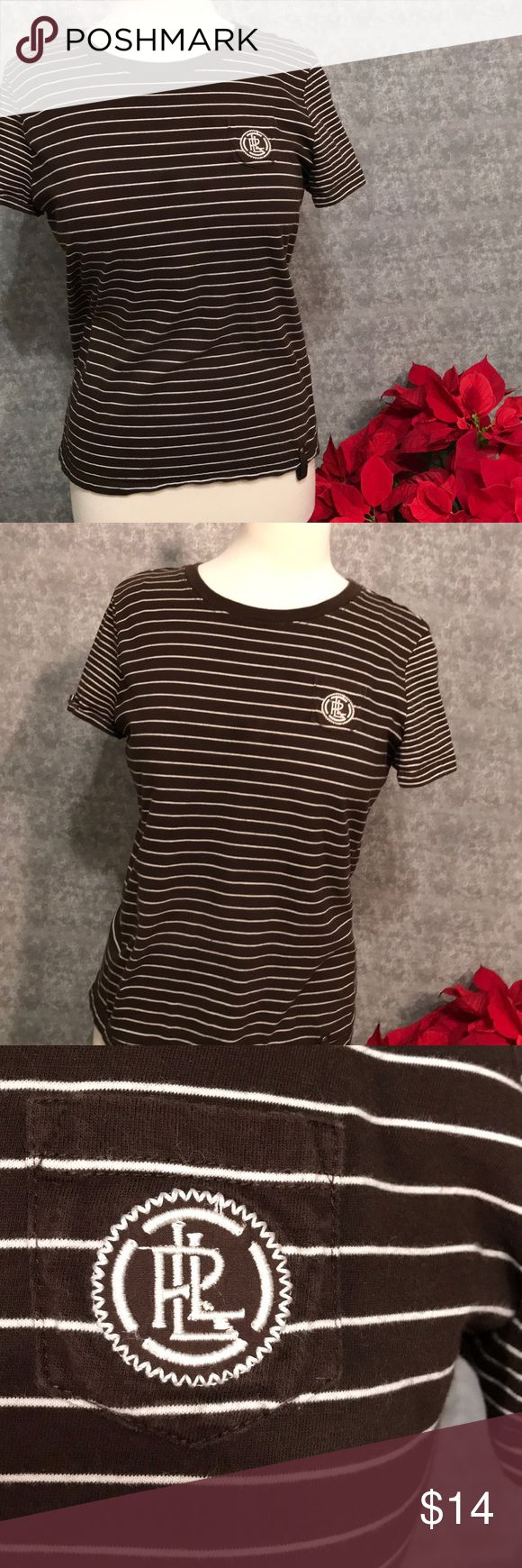 Lauren Active Tee w/ Chest Pocket  M Sporty active short sleeved tee in very good condition.  Neutral colors match with most. Brown/Tan/Olive hues topped with adorable mini-pocket with logo.  See close up if snap loop at the hem.  Blends in yet stands out at the same time. Lauren Ralph Lauren Tops Tees - Short Sleeve