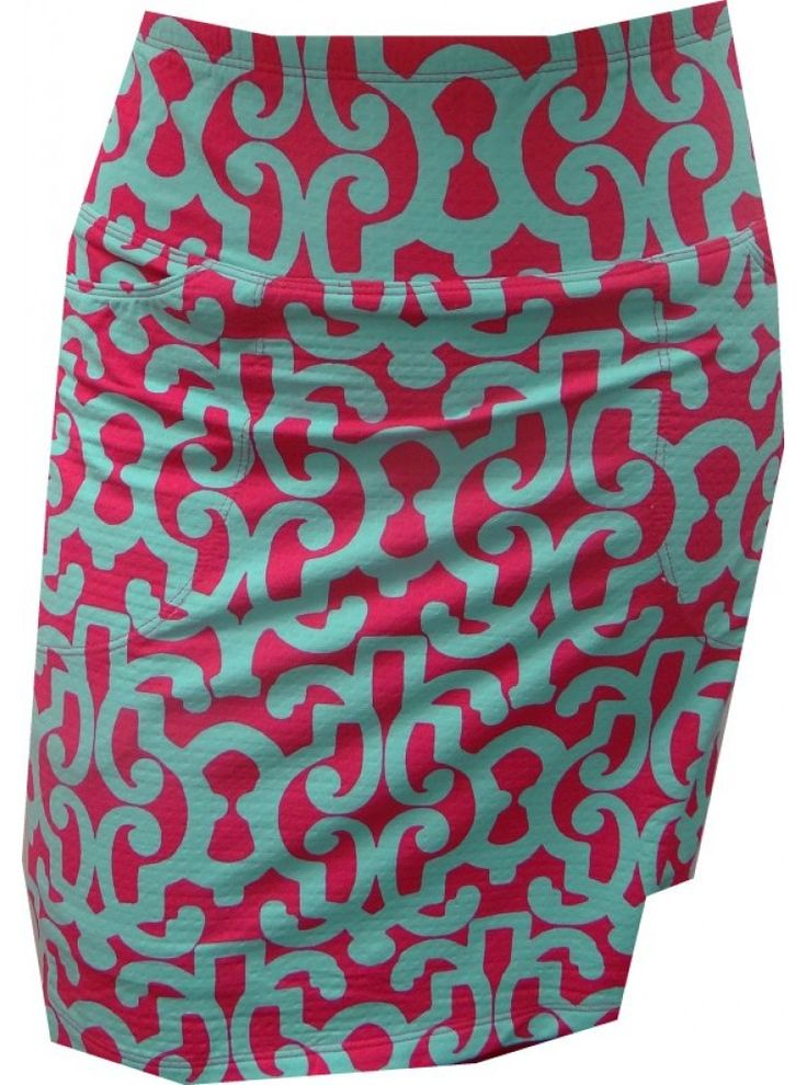 Icikuls Womens Alex Swirl Print Straight Stretch Pull On Golf Skort-Pink/Turquoise