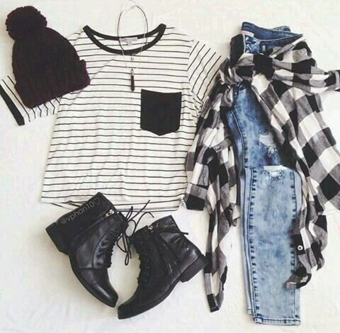 stripes+plaid+denim
