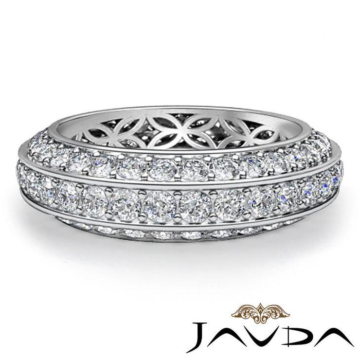 Trio Pave Round Diamond Wedding Womens Eternity Band 14k White Gold Ring 1 75ct | eBay