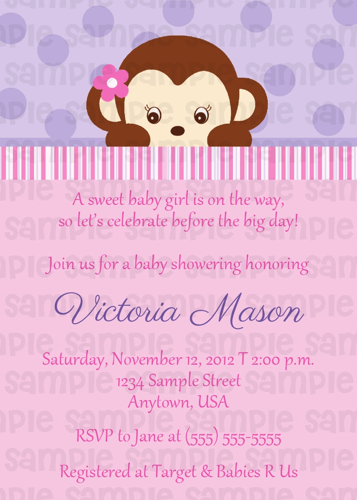 18 best Pink Monkey Baby Shower Invitations images on Pinterest ...