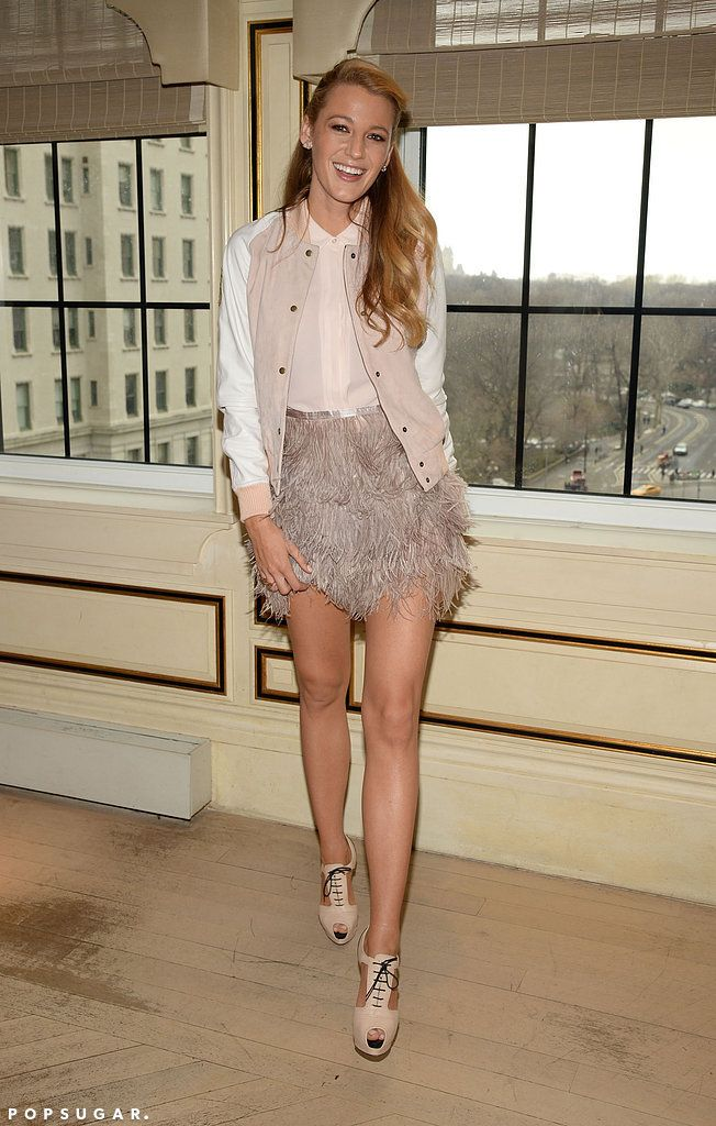 Blake Lively totally rocked this pink bomber jacket.