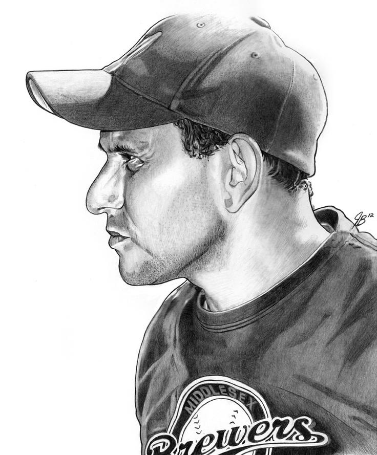 Middlesex Brewers outfielder, Brett Rudy - a pencil sketch by artist Jonathan Banchick.