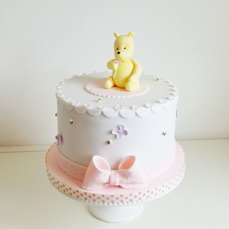 Classic Winnie the Pooh baby shower cake - chocolate cake with chocolate buttercream, chocolate ganache, fondant and all edible, handmade details.