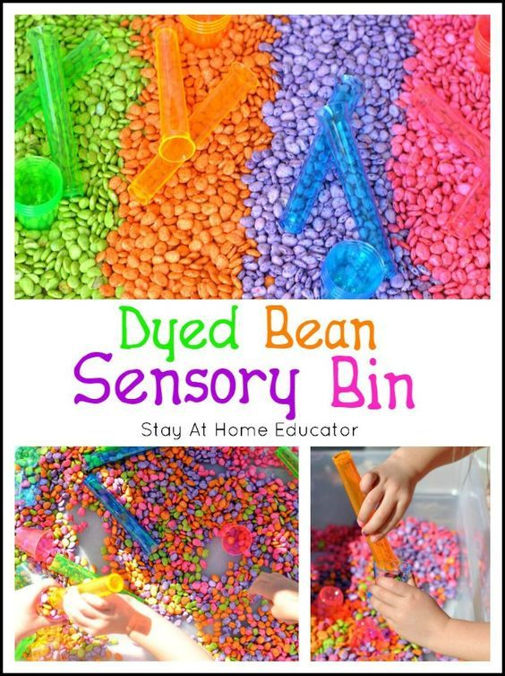 Dyed Beans Summer Sensory Bin - Have you ever seen such rich and vibrant dyed beans? Simple sensory bins like this one make the best summer preschool activity!