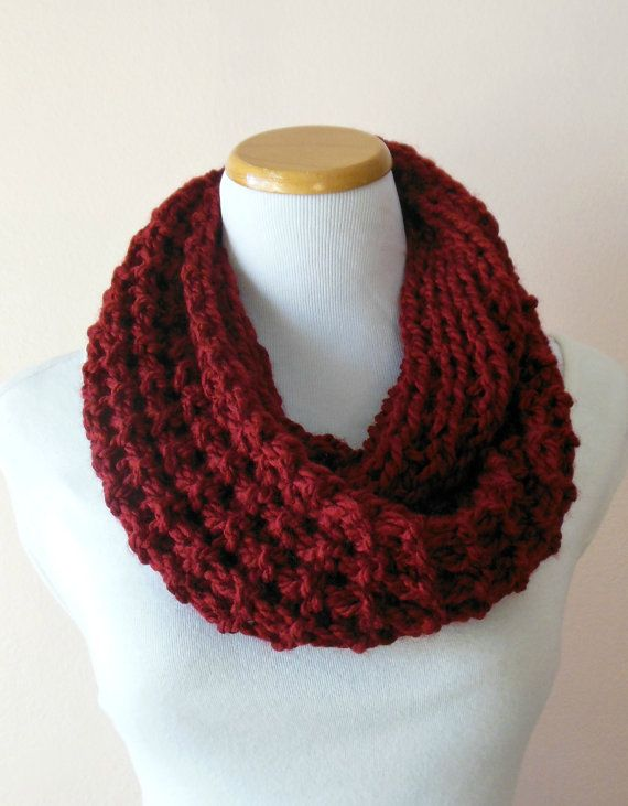 Deep Dark Red Hand Knit Infinity Scarf, Thick & Chunky, Neck Warmer, Cowl, Circle Loop Scarf