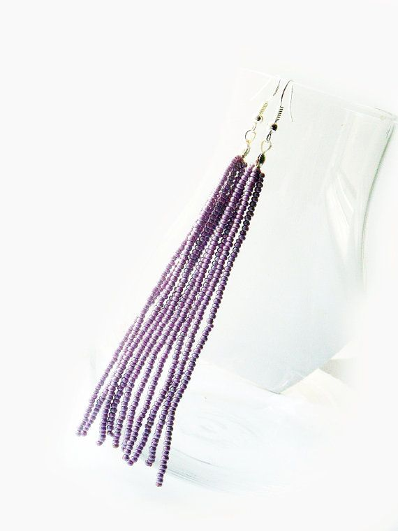 Beaded #tassel #earring long dangle earring by juditpukkai on Etsy Use coupon code on Etsy: PIN10 to get 10% discount :-)