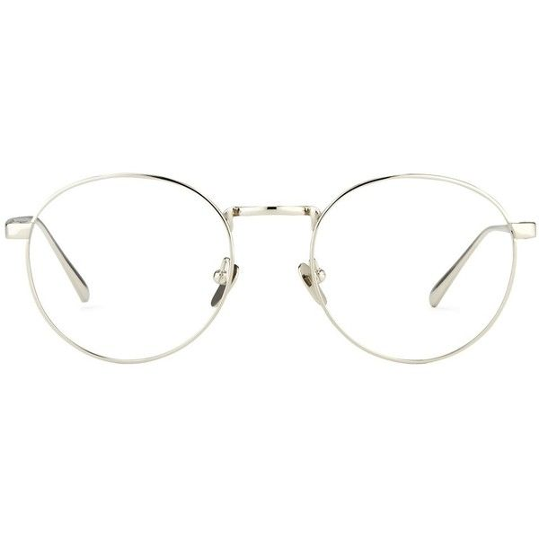 Oval Optical Frames by Linda Farrow in White Gold. | Linda Farrow ($595) ❤ liked on Polyvore featuring accessories, eyewear, eyeglasses, lens glasses, linda farrow, oval glasses, linda farrow glasses and oval eyeglasses