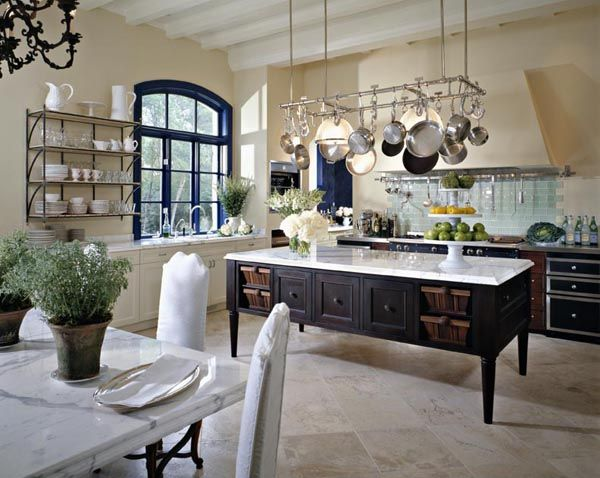 French Country Inspired Kitchen With Green Tile Blacksplash. I Love The  Expanse And Comfort Of