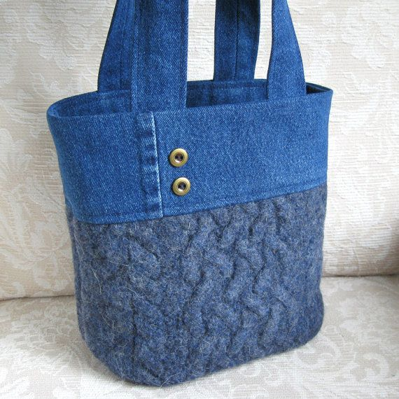 Blue Wool and Denim Tote, Eco Friendly Upcycled Sweater Wool and Denim Bag
